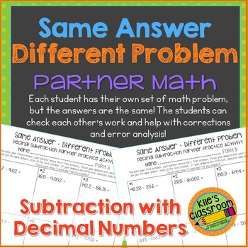 Subtracting Decimals Partner Math Activity/Same Answer - D