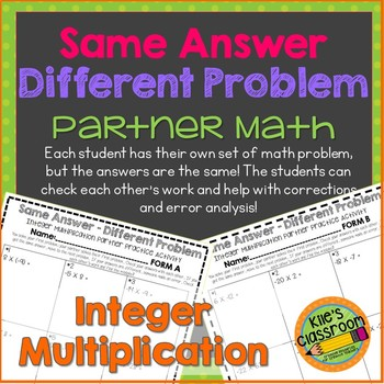 Integer Multiplication Partner Activity / Same Answer-Diff