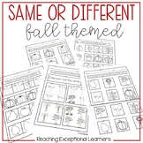 Math Worksheets: Same or Different-Fall Themed- Special Education