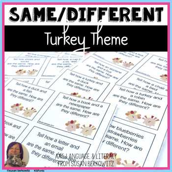 Compare Contrast Practice for Thanksgiving for Speech Ther