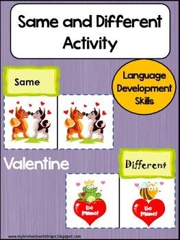 Same and Different Valentine Center Activity