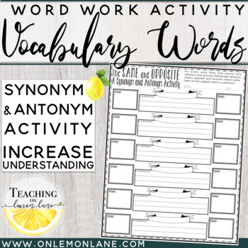 Same and Opposite (Synonym and Antonym Activity) Any Subject