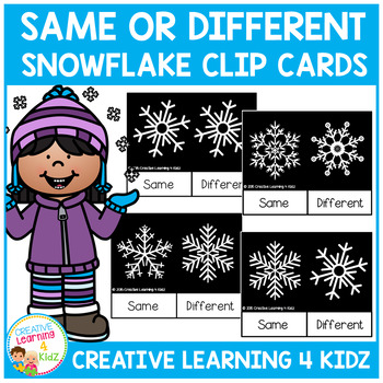 Same or Different Snowflake Clip Cards