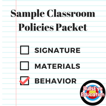 Sample Classroom Policies Packet