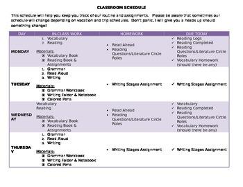 Sample Classroom Schedule