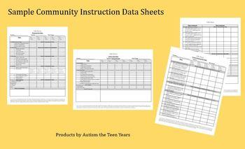 Sample Community Skills Data Sheets for ABA, Autism & Spec