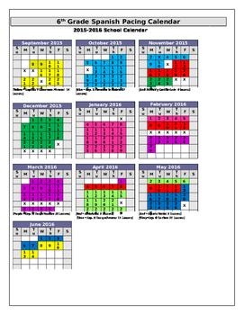 Sample Curriculum Pacing Calendar