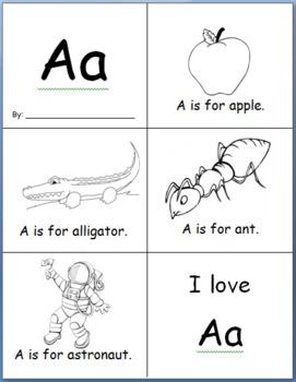 Sample Easy Alphabet Book: Letter A