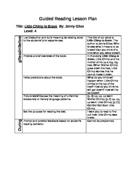 Sample Guided Reading Lesson Plan