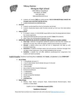 Sample High School English Syllabus
