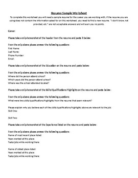 Sample Resume Worksheet
