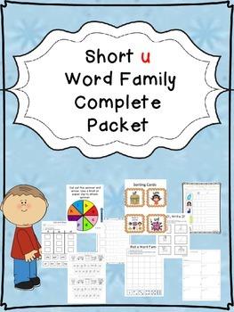 Sample Short u Word Family Centers Bundle: CVC Bingo, Spin
