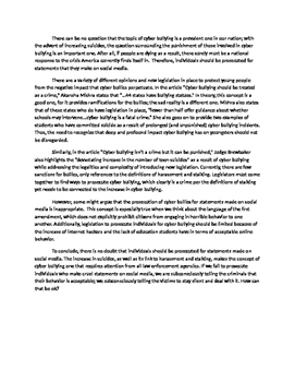 Sample cyber bullying essay