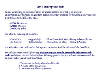 Sam's Scrumptious Subs - Adding and Subtracting Fractions
