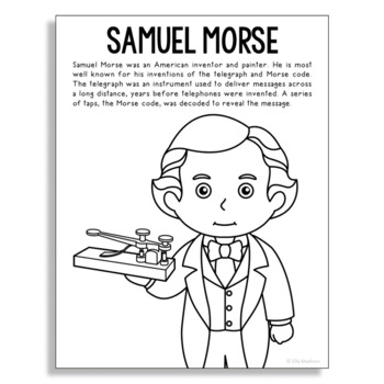 Samuel Morse Coloring Page Activity or Poster with Mini Bi