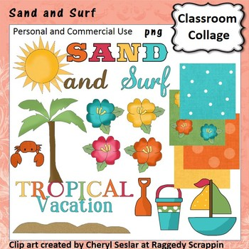 Sand and Surf clip art - Color - pers & comm use palm tree