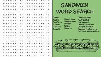 Sandwich Word Search; FACS, Culinary, Bellringer, Internat