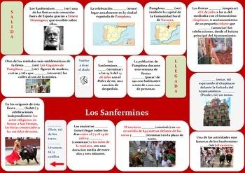 Sanfermines game/ Present Tense Spanish/ juego presente de