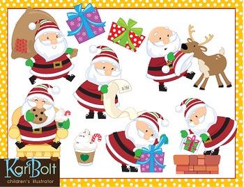 Santa Action Clip Art
