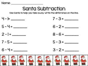 Santa Christmas Subtraction to 10