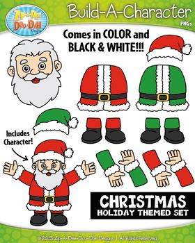 Santa Christmas Themed Build-A-Character Clipart Set — Inc