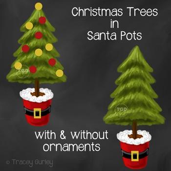 Santa Christmas Tree, christmas card art Printable Tracey