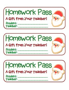 """Santa Cookie"" Homework Pass –Holiday FUN! (full color version)"