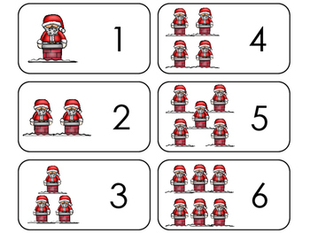 Santa Counting Printable Flashcards. Preschool- Kindergart