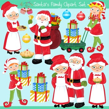 Santa Family Mrs Claus Clipart Set
