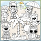 Santa & Friends On Vacation Clip Art - Santa Beach Clip Ar