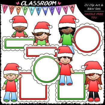 Santa Message Board Kids Clip Art - Kids With Frames Clip