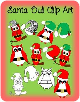 Santa Owls Clip Art