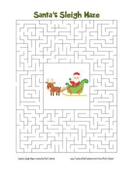"""Santa Sleigh"" Maze! Holiday FUN! (Color and Black Line)"