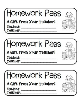 """Santa and Elves"" Homework Pass –Holiday FUN! (black line"