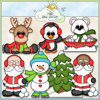 Santa and Friends Winter Fun Clip Art - Christmas Clip Art