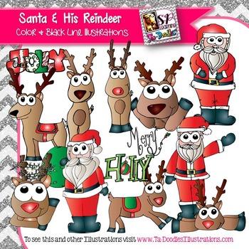 Santa and Reindeer Color & Blackline