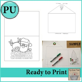 Santa and Rudy Coloring Card 5x7 with envelope