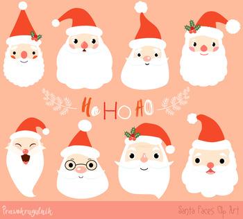 Santa faces clipart, Cute Santa heads clip art, Christmas