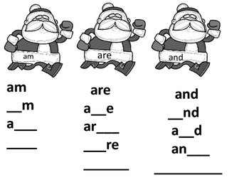 Santa's Sight Word Missing Letters