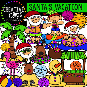 Santa's Vacation Clipart {Creative Clips Clipart}