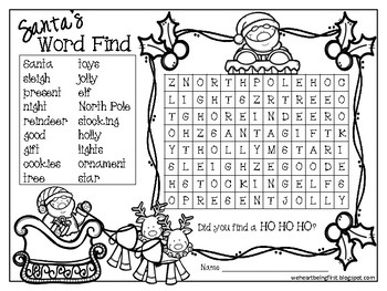 Santa's Word Find FREEBIE