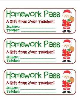 """Santa with Presents"" Homework Pass –Holiday FUN! (full co"