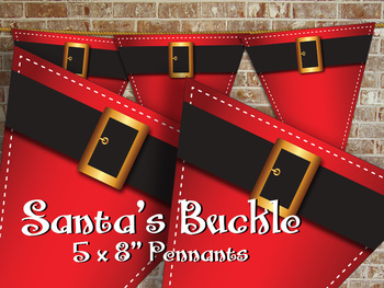 Santa's Belt Buckle Pennant • Bright Red with Golden Buckl
