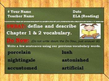 Sarah, Plain and Tall (Chapter 1 & 2 Vocabulary)