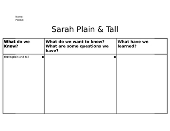 Sarah Plain and Tall - KWL Chart