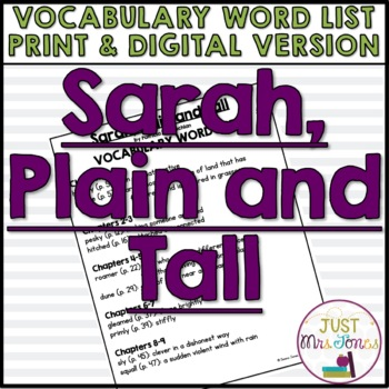 Sarah, Plain and Tall Vocabulary Word List