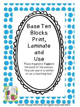 Giant Base Ten Blocks Math Centers Numbers in Base Ten