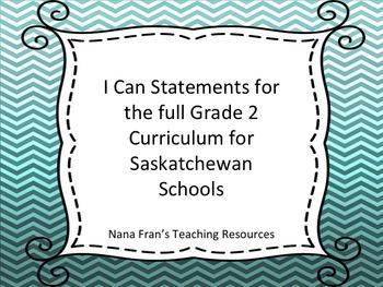 Saskatchewan Grade 2 Curriculum I Can Statements