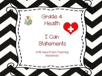 Saskatchewan Grade 4 Health I Can Statements in Black/Whit