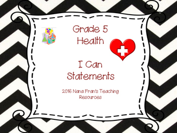 Saskatchewan Grade 5 Health I Can Statement Posters in B/W